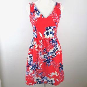 Aqua |  Coral Floral Fit n Flare Dress